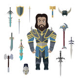 Fantasy Knight Character with Weapons Vector. Stock Image