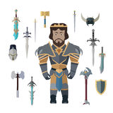 Fantasy Knight Character with Weapons Vector. Stock Photography