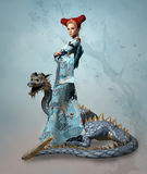Fantasy lady with dragon Royalty Free Stock Image