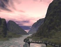 Fantasy land. 3D rendered fantasy landscape with lightning and sun Stock Image