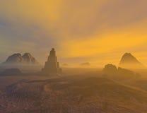 Fantasy land. 3D rendered fantasy landscape with lightning and sun Stock Images