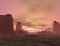 Fantasy land. 3D rendered fantasy landscape with lightning and sun Royalty Free Stock Photography