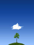Fantasy land. 2d illustration, fantasy land with blue skies, tree, clouds and grass Stock Photo