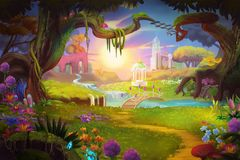 Fantasy land, Grass and Hill, River and Tree with Fantastic, Realistic Style. Video Game`s Digital CG Artwork, Concept Illustration, Realistic Cartoon Style stock illustration