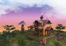 Fairytale land with a fantasy factory and mushroom house. Royalty Free Stock Image