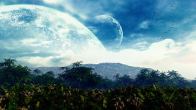 Fantasy Landcape. With vegetation, landscape, mountains, planets, clouds and birds Stock Images