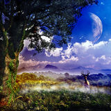 Fantasy Landcape. With vegetation, landscape, mountains, planets, clouds and birds Royalty Free Stock Images