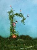 Fantasy Landscape. With butterflies and bird house Royalty Free Stock Photography