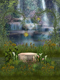 Fantasy Landscape. With waterfall and flowers