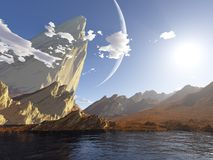 Fantasy landscape. A fantasy or science-fiction landscape on a sunny day (3D render using Terragen 2 Stock Photography