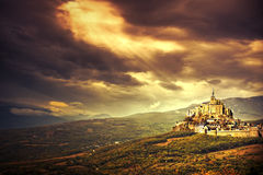 Fantasy landscape. With big castle Royalty Free Stock Photography