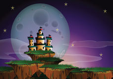 Fantasy Landscape. Of a big castle on floating island and a gigantic moon Royalty Free Stock Photos