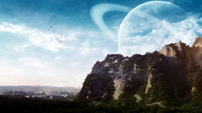 Fantasy Landscape. With mountains, ruins of a city, flock of birds, clouds and planets in the sky Stock Photography