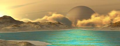 Fantasy landscape. Imaginary landscape on a distant planet. Digital illustration Stock Images
