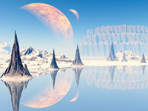 Fantasy landscape. Beautiful, colorful and fantastic scenery vector illustration