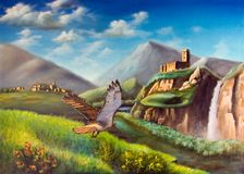 Fantasy landscape. Hawk flying through an imaginary landscape. Original illustration hand painted on canvas Stock Photo