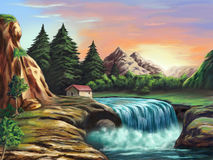 Fantasy landscape. Waterfall in an imaginary landscape at sunset. Original digital illustration Stock Photo