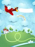 Fantasy landscape with airplane, banner and river. Illustration Stock Images