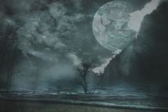 Fantasy landscape background. Trees water mountain and huge planet royalty free stock images