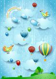 Fantasy landscape with balloons, bird and flying fisches. Vector illustration eps10 stock illustration
