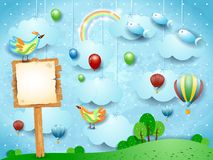 Fantasy landscape with balloons, birds, sign and flying fisches. Vector illustration eps10 stock illustration