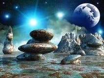 Fantasy landscape. Beautiful, colorful and fantastic scenery stock illustration