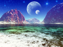 Fantasy landscape. Beautiful, colorful and fantastic scenery royalty free illustration