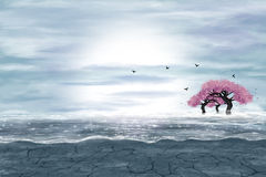 Fantasy landscape in blue and gray colors. A water in a desert, and flowering trees. Digital art Royalty Free Stock Photos