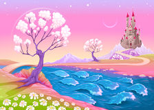 Fantasy landscape with castle Royalty Free Stock Photos