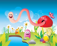Fantasy landscape with characters vector Stock Photos