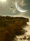 Fantasy landscape. With cliff and big moon Stock Photo