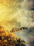 Fantasy Landscape. In the clouds with lake Stock Image