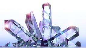 Fantasy landscape, crystals, amethyst, quartz, light, sun, people in backlight in a science fiction landscape, big crystals. 3d rendering Royalty Free Stock Images