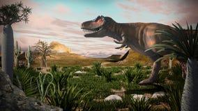 Tyrannosaurus-rex 3D. Fantasy Landscape, 3d rendered landscape with dinosaur Stock Images