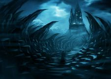Fantasy landscape - Dark Castle. A digital paiting depicting a dark fantasy landscape setting with a stranger in dark robes heading to a black castle towering in Stock Images