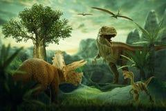 Dinosaur 3D render. Fantasy Landscape with dinosaur, 3d rendered landscape with mountains Stock Image