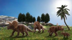 Dinosaur 3D render. Fantasy Landscape with dinosaur, 3d rendered landscape with mountains Stock Photography