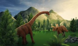 Dinosaur 3D render. Fantasy Landscape with dinosaur, 3d rendered landscape with mountains Royalty Free Stock Photography