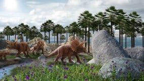 Dinosaur 3D render. Fantasy Landscape with dinosaur, 3d rendered landscape with mountains Stock Images