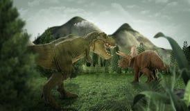 Dinosaur 3D render. Fantasy Landscape with dinosaur, 3d rendered landscape with mountains Royalty Free Stock Image