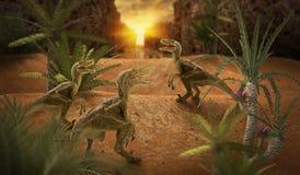 Dinosaur 3D render. Fantasy Landscape with dinosaur, 3d rendered landscape with mountains Stock Photos