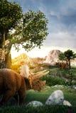 Dinosaur 3D render. Fantasy Landscape with dinosuar, 3d rendered landscape with mountains Stock Photo