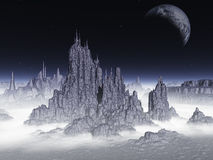 Fantasy landscape.Elements of this image furnished by NASA. Fantasy landscape of the planet in the night sky 3d render Royalty Free Stock Image