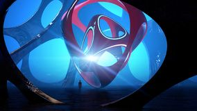 Fantasy landscape, extraterrestrial structure, darkness, light, sun, man in backlight in a science fiction landscape. Large luminous object. Alien sculpture royalty free illustration