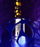 Fantasy landscape, extraterrestrial structure, darkness, light, sun, man in backlight in a science fiction landscape. Large luminous object. Alien sculpture vector illustration