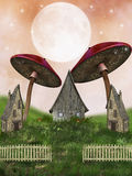Fantasy landscape. Fantasy fairy Landscape in a field mushrooms Stock Images