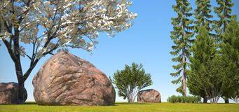Fantasy Landscape. 3d rendered landscape with mountains Royalty Free Stock Images
