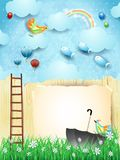 Fantasy landscape with fence, ladder, umbrella and flying fishes. Vector illustration eps10 vector illustration
