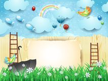 Fantasy landscape with fence, umbrella, ladders and flying fishes. Vector illustration eps10 vector illustration