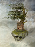 Fantasy landscape. In floating island with wind Stock Images
